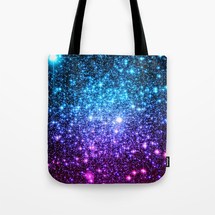 Glitter Galaxy Stars Turquoise Blue Purple Hot Pink Ombre Tote Bag
