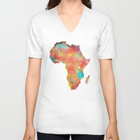 africa V-neck T-shirts featuring Africa by jbjart