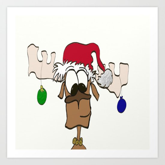 Reindeer Decked Out With Santa's Hat Art Print