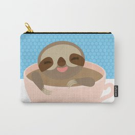 Sloth in a Pink cup coffee, tea, Three-toed sloth Carry-All Pouch