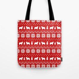 Polish Lowland Sheepdog Silhouettes Christmas Sweater Pattern Tote Bag