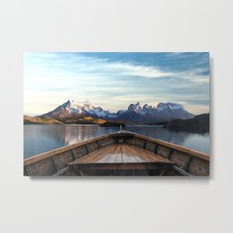 Torres del Paine National Park Chile, The Boat in Patagonia Metal Print