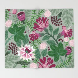 Magenta flowers on grey Throw Blanket