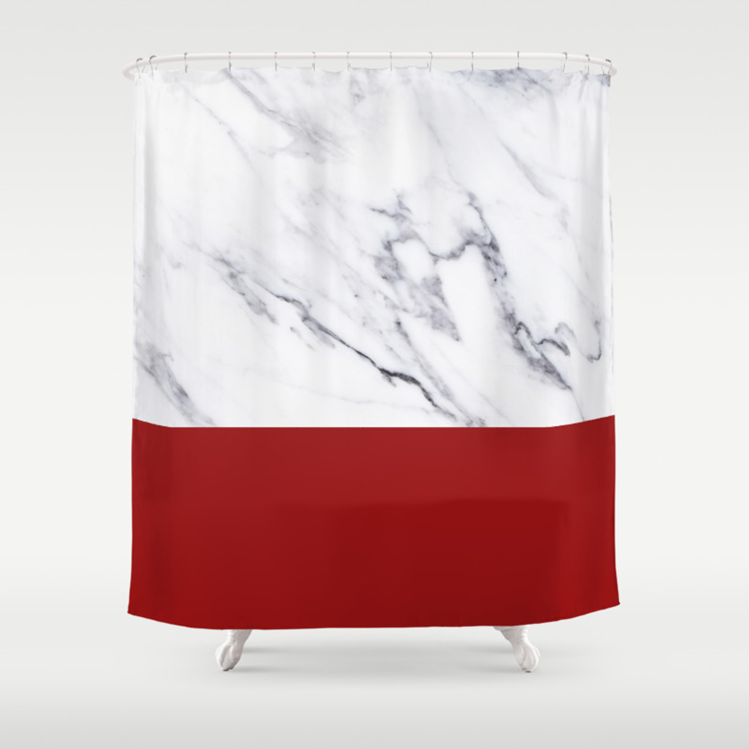 White Marble Red Hot Striped Shower Curtain