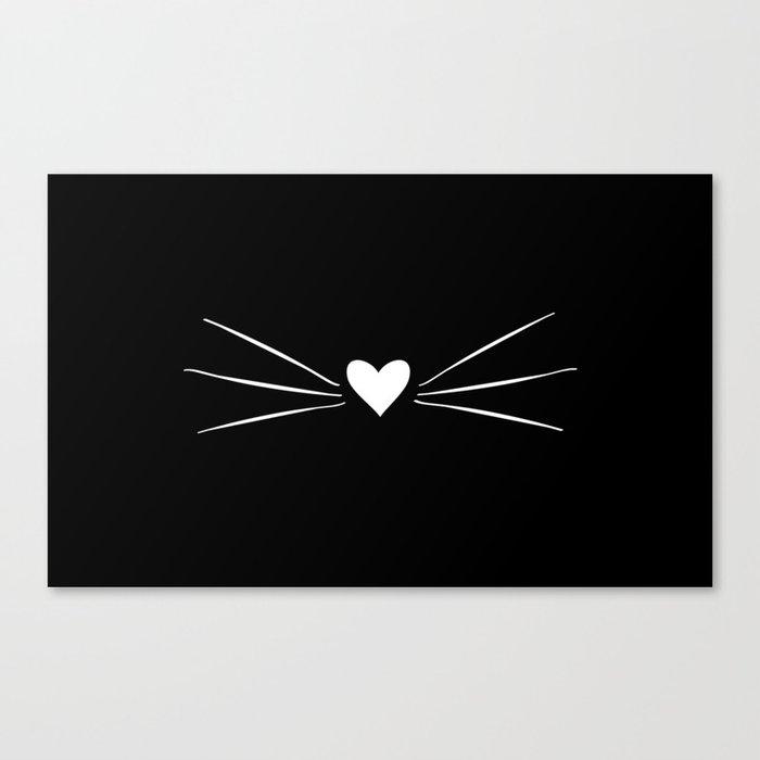 Cat Heart Nose & Whiskers White on Black Leinwanddruck