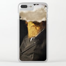 The inability of men with golden faces to be photographed without cloud. Clear iPhone Case
