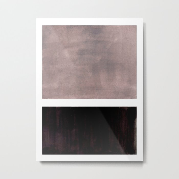 Mid Century Modern Minimalist Art Colorblock Rothko Inspired Squares Grey and Black Simple Abstract Metal Print