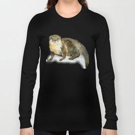 River Otter Watercolor Long Sleeve T-shirt