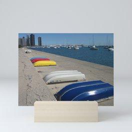 Chicago Shoreline, Skyline, Boats Mini Art Print
