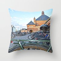 bicycles Throw Pillows featuring bicycles by  Agostino Lo Coco