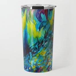 FLIGHT ON TAP - Whimsical Colorful Feathers Fountain Peacock Abstract Acrylic Painting Purple Teal Travel Mug