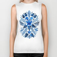 navy Biker Tanks featuring Tropical Symmetry – Navy by Cat Coquillette