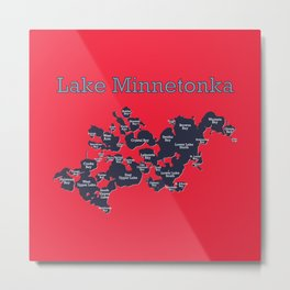 Lake Minnetonka Map with Bay Names - Red Navy - Susanne Johnson Art Metal Print