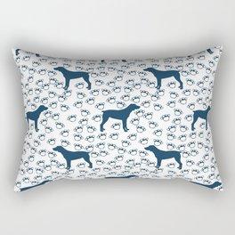 Big Blue Dog and Paw Prints Rectangular Pillow