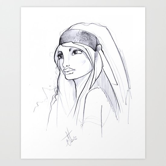 Girl Sketch Art Print