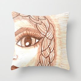Girl with braid Throw Pillow