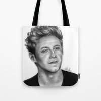 niall horan Tote Bags featuring Niall Horan Pencil Drawing  by Anna Nilsson
