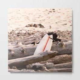 Surfboard, Oregon Beach, Coldwater Surfing, Driftwood Metal Print