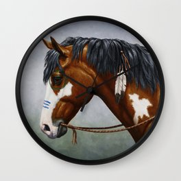 Bay Pinto Native American War Horse Wall Clock