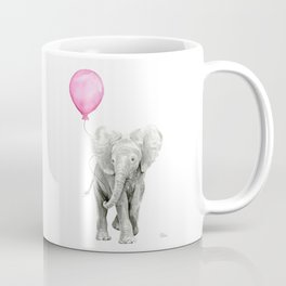 Baby Elephant with Pink Balloon Coffee Mug