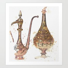 A gold damascened steel ewer and bottle vase, Persia, Qajar, second half 19th century watercolor by Art Print