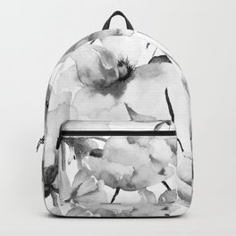 Watercolor Painting Black and White Peony Floral Pattern 2 Digital Graphic Design  Backpack