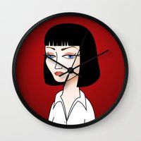mia wallace Wall Clocks featuring Mia Wallace by Pendientera