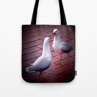 gossip girl Tote Bags featuring Gossip by Lydia Cheval