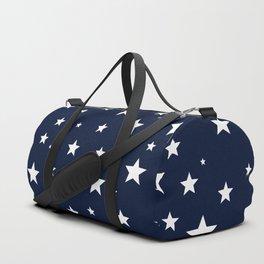 Scattered Stars White on Midnight Blue Duffle Bag
