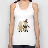 toddler Tank Tops featuring Thanksgiving Pilgrim Toddler Girl and Boy Couple by PodArtist