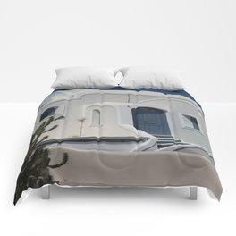 Santorini House With Blue Door Comforters