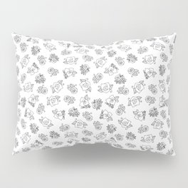 Simple Linework Roses - Black and White Pillow Sham