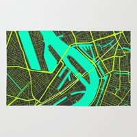 cities Area & Throw Rugs featuring 2nd Biggest Cities Are Cities Too - Rotterdam by Bakus