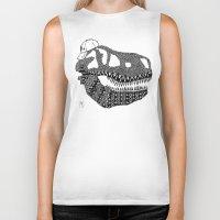 t rex Biker Tanks featuring T-rex by Surfing Shaman