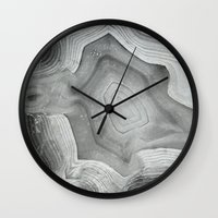 mineral Wall Clocks featuring MINERAL MONOCHROME by Catspaws