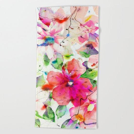 joyful flowers Beach Towel