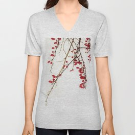 Red Berry Branches Unisex V-Neck