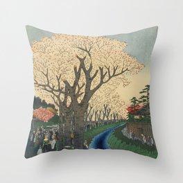 Spring Cherry Trees Blossoms Ukiyo-e Japanese Art Throw Pillow