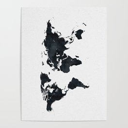 World Map in Black and White Ink on Paper Poster