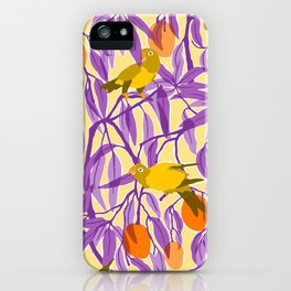 Yellow Parrots and Mangoes iPhone Case
