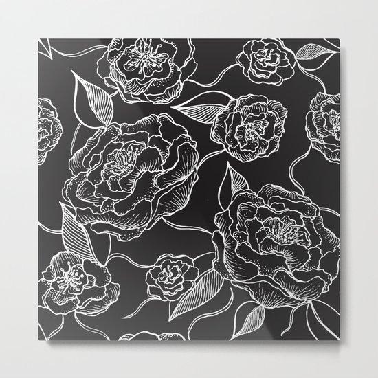 Floral Pattern B&W Metal Print