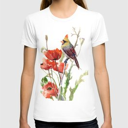 Cardinal And Poppy Flowers T-shirt