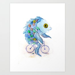 fish on a bicycle Art Print