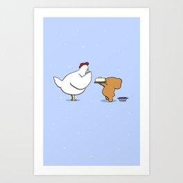 Mother Hen and Lemon Cake  Art Print