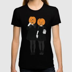 Pumpkin Heads Womens Fitted Tee SMALL Black
