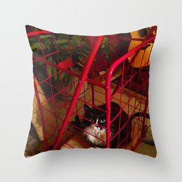 Cat in a Cart (Gracie Queen of Chicago Collection) Throw Pillow