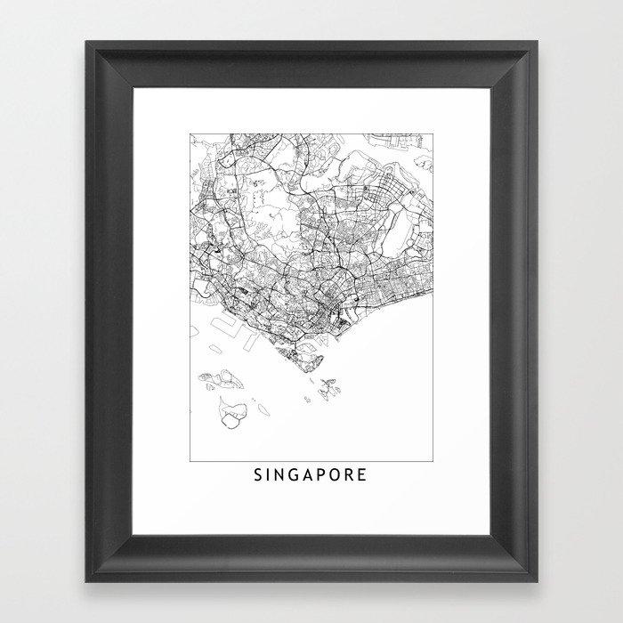 Singapore White Map Gerahmter Kunstdruck