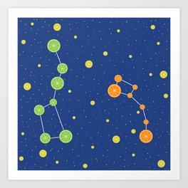 Citrus constellations Art Print