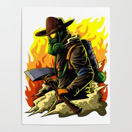 Firefighter Illustration | Fire Brigade Hero Flame Poster