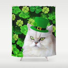 St. Patricks Day Irish Cat Shower Curtain